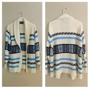 VINTAGE Tribal Print Open Front Cardigan Sweater